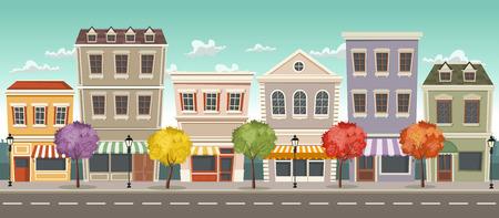 Via della città con negozi colorati