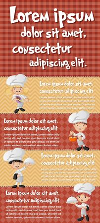 chefs cooking: Vector brochure backgrounds with cartoon chefs cooking. Infographic template design. Illustration