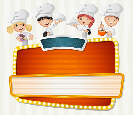 Vector banners backgrounds with chefs cooking cartoon and tray with food holding. Design text billboard. Illustration