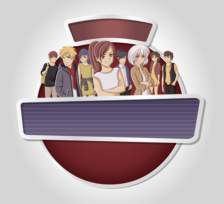 Vector banners backgrounds with manga anime people. Design text billboard. Vetores