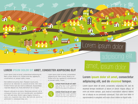 city park boat house: Template for advertising brochure with colorful city with houses, cars, trees and river Illustration