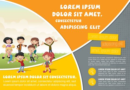 Template for advertising brochure with cute cartoon kids