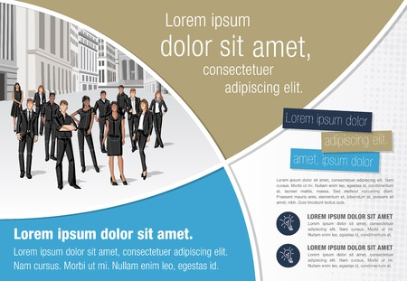 ceo office: Template for advertising brochure with business people in the city