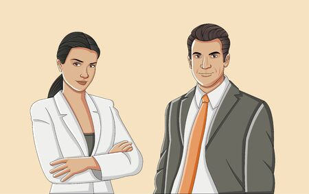 Business people. Young couple wearing suit.