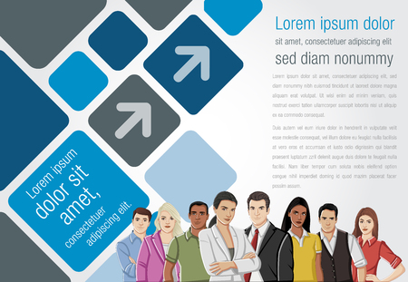 associate: Template for advertising brochure with business people