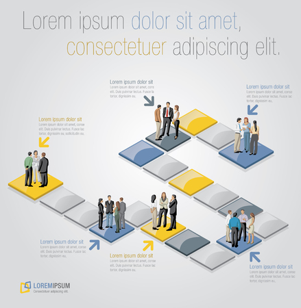 gradient: Template for advertising brochure with business people over path