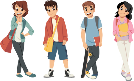 Cute cartoon children with books. Teenager students.