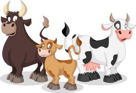 Cartoon cow, calf and bull. Cow family.