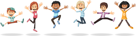 Group of cartoon kids jumping. Illustration