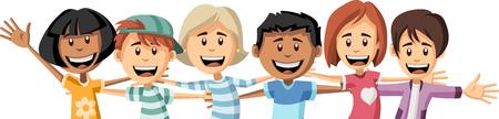 Group of happy cartoon children hugging each other. Big hug. Illustration