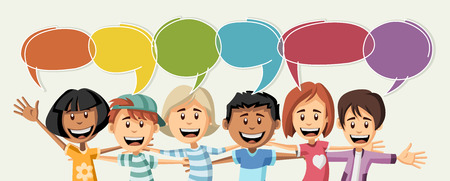 happy people: Cartoon children talking with speech bubbles Illustration