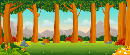 Green forest with grass and trees. Nature landscape. Illustration