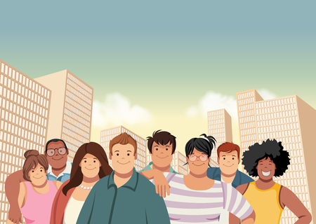plus size: Cartoon fat young people in the city. Plus size teenagers.