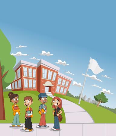 smart boy: Cartoon students in front of school building.