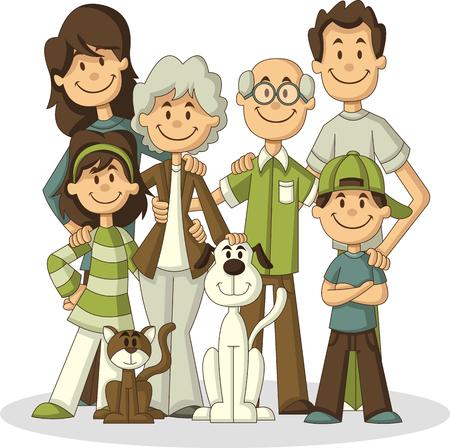 Kolorowe szczęśliwy cartoon People. Duża rodzina.