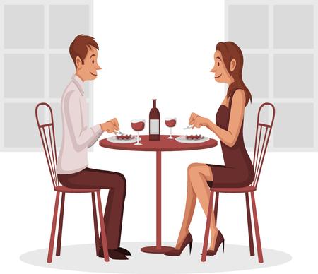Couple having dinner date. Stock Illustratie