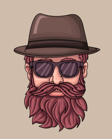 Hipster man wearing hat and sunglasses. Vetores