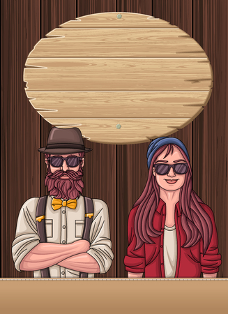Wooden template with hipster man wearing vintage clothes. Illustration