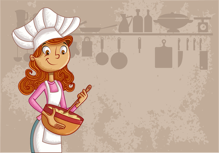 Cartoon woman chef wearing apron and cooking