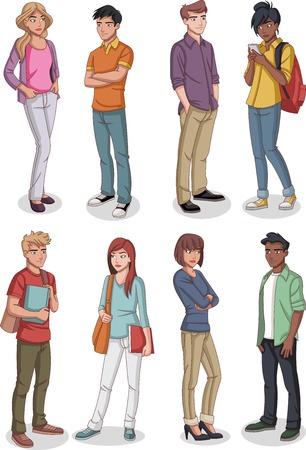 Group of cartoon young people. Teenagers. Ilustração