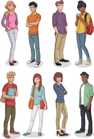 Group of cartoon young people. Teenagers. Illustration