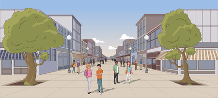 Street of a city with cartoon young people Illustration