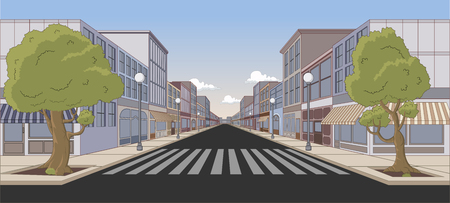 Street of the city with colorful shops  イラスト・ベクター素材