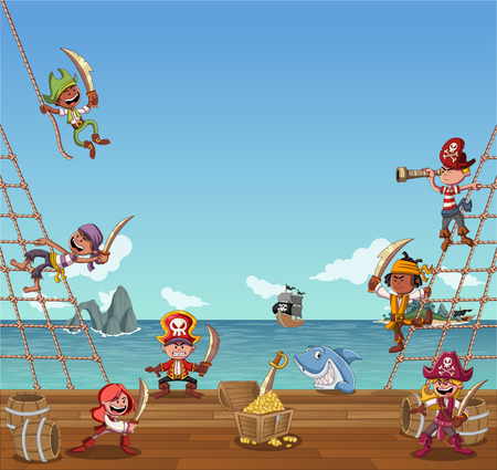 Group of cartoon pirates on the deck of a ship