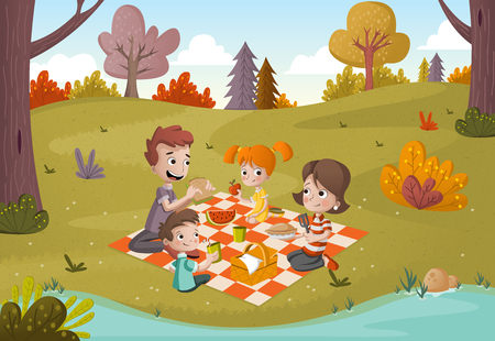 Cartoon family having picnic in the park on a sunny day. Nature background. Ilustração