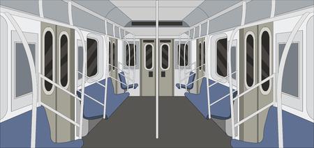 Metro train. Passangers In Subway. Public Transport. Illustration