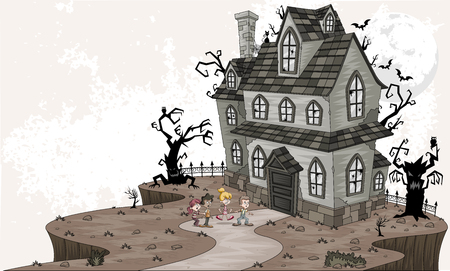 Scared cartoon kids in front of haunted house. Halloween background.
