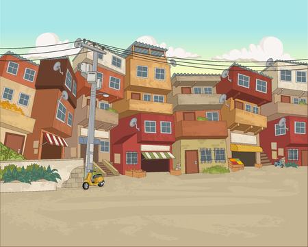 Street of poor neighborhood in the city Stock Illustratie