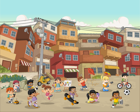 Street of poor neighborhood with cartoon children playing. Sports and toys. Slum. Shanty town. Vetores