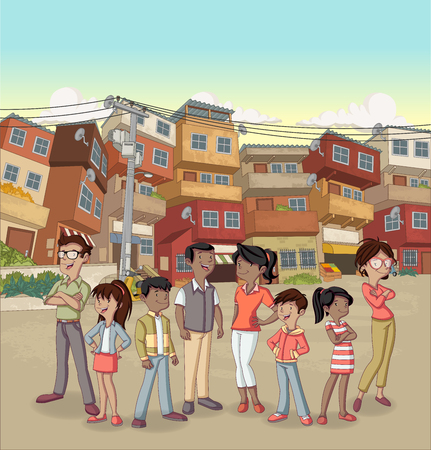 Street of poor neighborhood with cartoon happy black people. Slum. Shanty town.