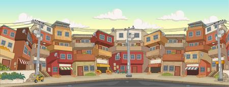 Rue du quartier pauvre de la ville. Taudis. Bidonville. Vecteurs