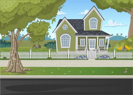 maison colorée dans le quartier de banlieue Vecteurs