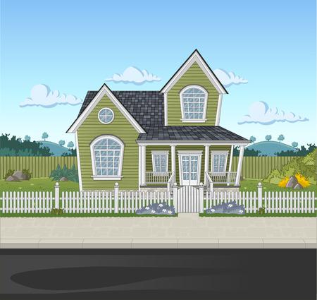 Colorful house in suburb neighborhood