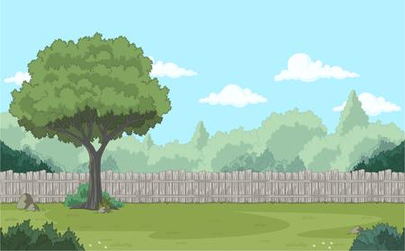 Wood fence on the backyard