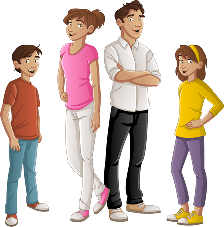 Colorful happy people family cartoon. 일러스트