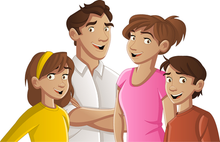 Colorful happy people family cartoon. Vettoriali