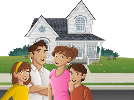 Cartoon family in front of a house in suburb neighborhood.