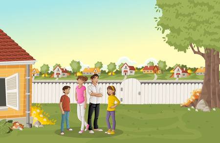 Cartoon family in suburban neighborhood. Green park landscape with grass, trees, and houses.