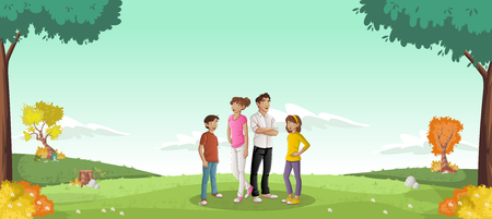 Cartoon family in a green park with grass and trees. Nature landscape.