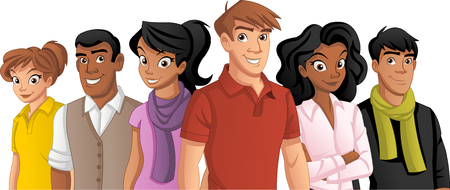 Group of cartoon young people. Illustration