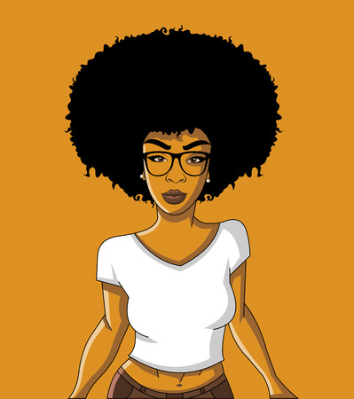 Group of cartoon black woman. African girl. Illustration