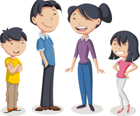 Colorful happy people. Cartoon asian family. Illustration