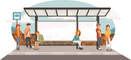 Passengers at bus stop. Cartoon people waiting for bus. Illustration