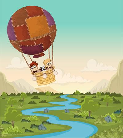 Cartoon kids inside a hot air balloon flying over a green forest.