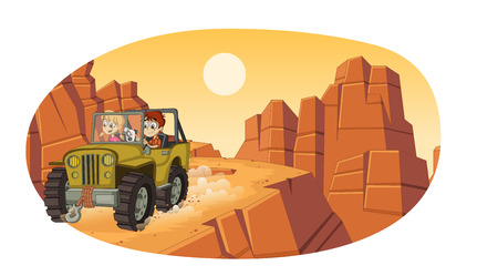 Cartoon children driving a car on the canyons. Off road adventure. Stock Illustratie