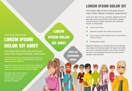 Template for advertising brochure with business people cartoon
